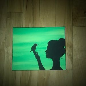 Bird and Girl Silhouette